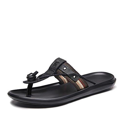 Sandali da Uomo Slidals Slidals Slidals Genuine Pelle & Tessuto Upper Metal Studed Decor Sliders Uomo Donna Flip Flop (Color : Black, Size : 44 EU)