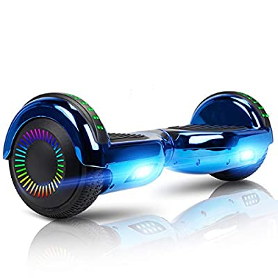 LIEAGLE Hoverboard with Bluetooth Self Balancing Scooter Hover Board for Kids Adults with UL2272 Certified, Wheels LED Lights and Free Carry Bag(Chrome Blue)