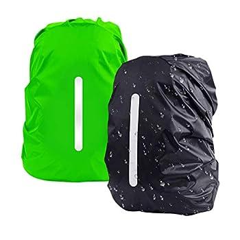DFK Lot de 2 housses de sac à dos imperméables pour sac à dos, 1 vert + 1 noir. (Vert) - 009-9