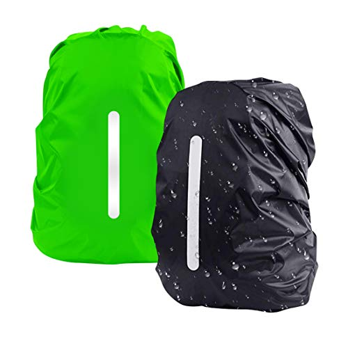Reflective Rucksack Cover, DFK [2pcs M 26-40L] Waterproof Snowproof Backpack Rain Cover for Hiking Camping Cycling Green Black