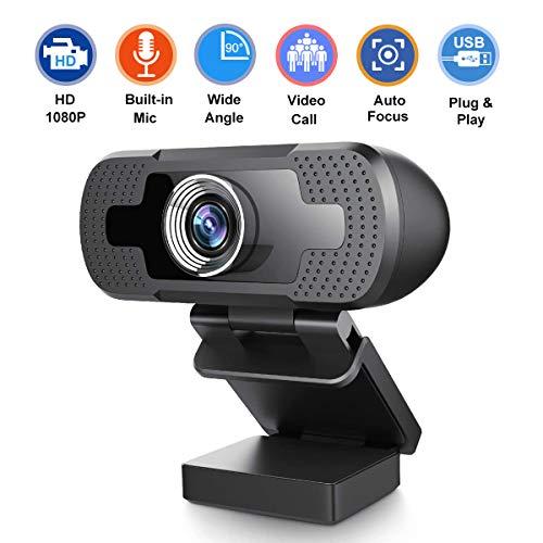 Cardfuss 1080P HD Webcam, USB Plug & Play Webkamera, einstellbar mit integriertem Mikrofon für Konferenzvideo Desktop Laptops (BK01)