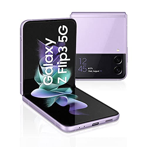 "Samsung Galaxy Z Flip3 5G, Caricatore incluso, Smartphone Sim Free Android Telefono Pieghevole 128GB Display Dynamic AMOLED 2X 6,7"" Super AMOLED 1,9"" Lavender 2021 [Versione Italiana]"