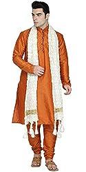SKAVIJ Mens Dupion Art Silk Sherwani - Set of 3 (Kurta, Pajama and Dupatta)