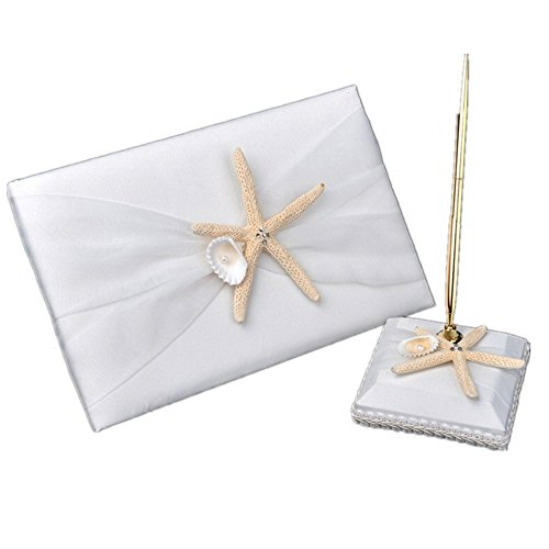 2Pcs Wedding Guest Book Pen and Stand Set, Celebration Wedding Guest Book and Pen Set, Ribbon Bowknot Beach Theme Starfish Seashell Guest Book with Pen & Holder, Wedding Baby Shower Party Favor