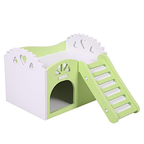 Castello di Animale Domestica/Criceto Giocattolo/Nido di Sonno/Giocattoli di Esercizio per Pet Hamster Rat/Guinea Pig/Criceto e Cavia Domestica, 2 Piani con 1 Scala (Multi Colori) (Colore : Verde)