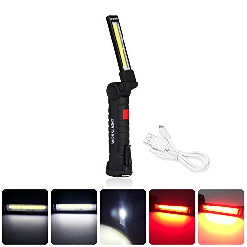 Work light, LED Work Light of Rechargeable, Portable, Folding Flashlight with Magnetic Base, Hanging Hook, 360°Rotation and 5 Modes Bright LED for Repairing, Workshop, Garage, Camping (1 pack small)