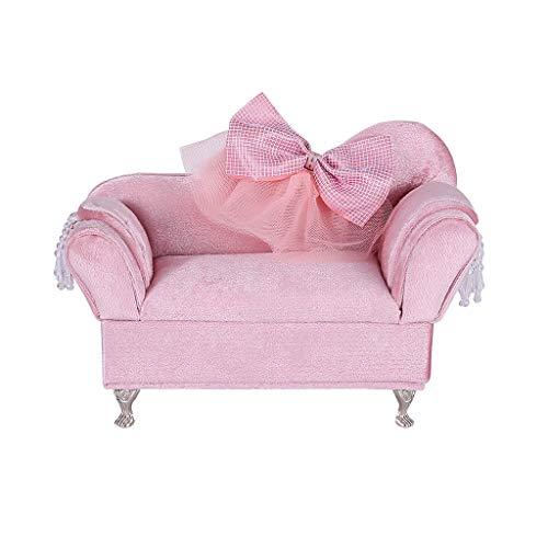 dailymall Titolare Dell'organizzatore del Contenitore di Gioielli di Forma del Divano del Sofà di Bowknot di Mini Mobilia Rosa