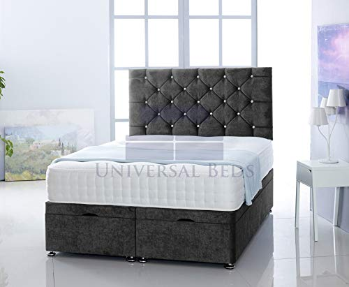 Universal Beds SOFT VELVET OTTOMAN FOOT LIFT STORAGE DIVAN BED BASE WITH MEMORY ORTHPAEDIC MATTRESS | FREE 26' HEADBOARD!!!! (4.0FT - Small Double, Soft Velvet Black)
