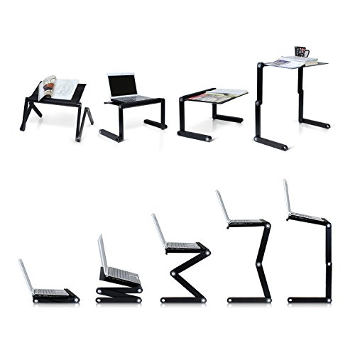 Portable Laptop-Table-Stand with Mouse Pad Fully Adjustable-Ergonomic Mount-Ultrabook-MacBook Light Weight Aluminum-Black Bed Tray Desk Fans Up to 17 Photo #2