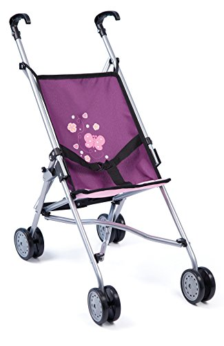 Bayer Design 30157AA Dolls Buggy, Umbrella Stroller, Pram for Toddler, Foldable, Double Wheels, Stable, Purple