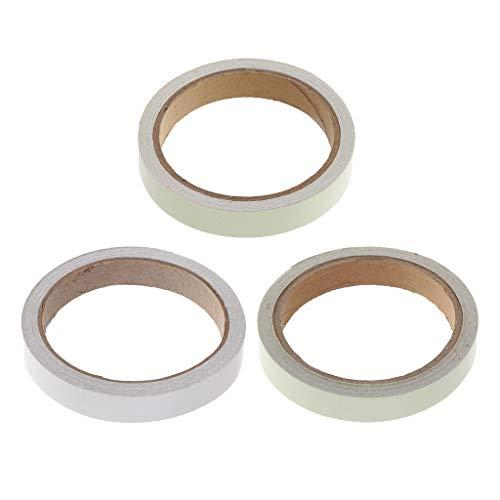 Milageto 3 cintas adhesivas de seguridad autoadhesivas luminosas fluorescentes, luminosas en la oscuridad.