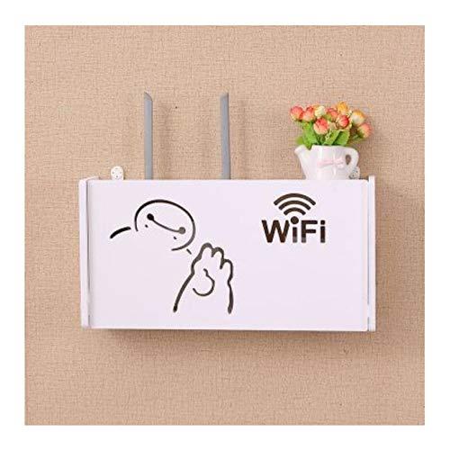 HJCE Cajas Almacenamiento para Estantes Enrutador WiFi,Caja Almacenamiento con Soporte Cable Cable Power Plus,Caja Soporte Enchufe Colgante para Estante Pared Madera Y Plástico M D