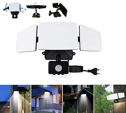 Depuley 35W LED Sicherheitslicht mit Bewegungsmelder LED Strahler, Wasserdicht IP65, 6500K Kaltweiß, 3 Verstellbares Flutlicht mit 2 Modi, Superhell 150° LED-Flutlicht für Garten, Hof und Garage
