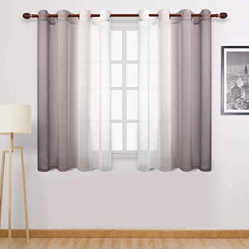 Shirt Luv Home Decor Faux Grommet Light Filtering Semi Sheer Gradient Window Curtain Brown