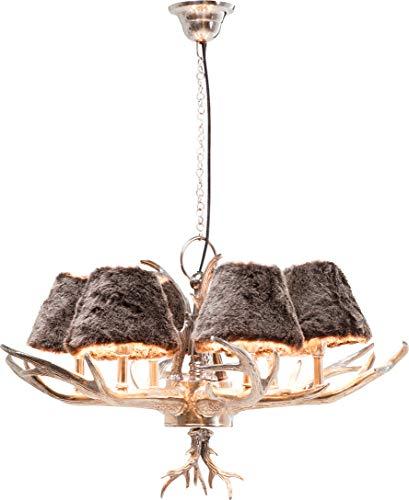 Kare Design Hängeleuchte Antler Huntsman, rustikale Lampe mit Hirschgeweih, ausgefallene Lampenschirme aus Kunstfell, Design Kronleuchter, Silber (H/B/T) 66x75x75cm