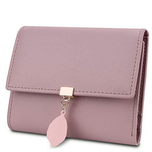 YALUXE Geldbörse Damen Echtleder mit Blatt Anhänger RFID Blocking Kleine Münze Tasche Kartenorganisator Reißverschluss Rosa