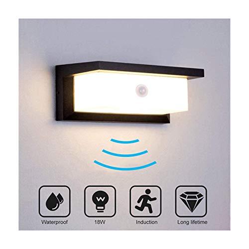 Wandleuchte mit Bewegungsmelder, 18W Bewegungsmelder Aussen Wasserdicht IP65 LED Wandlampe Warmweiß Wandleuchte Innen/Aussen für Garten Schlafzimmer Treppenhaus Flur