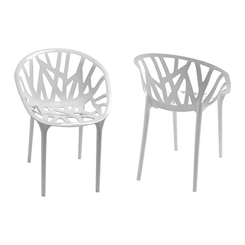 Mod Made Branch Cut Out Dining Chair Stackable, White, Set of 2