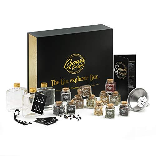 Exklusives DIY Gin Set - Atemberaubendes Geschenk für Männer & Frauen - Begeisterung garantiert! Set zum Gin selber machen inkl. E-book mit 13 Rezepten, 12 Gin Gewürze, 3 Flaschen zum abfüllen uvm