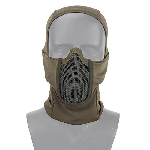 Livans Balaclava Mesh Mask, Tactical Airsoft Full Face Protective Mask Ninja Style Hood Steel Metal Mesh Mask with Polyester Fabric Foldable Design