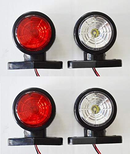 4 X 24 V Blanc LED Rouge côté restauration Feux de gabarit Tunel Effet Camion Remorque Bus Camper SUV caravane van