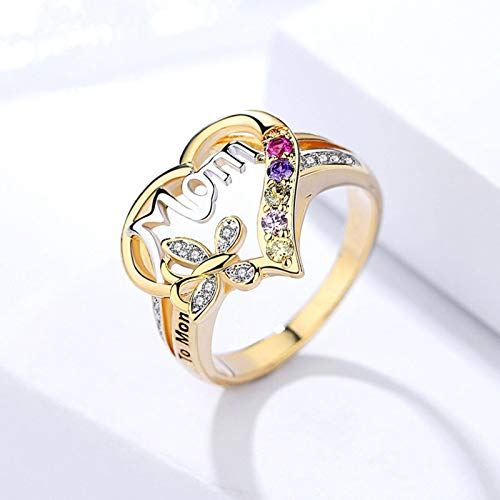 Anyiruo Mom Hollow Out Design Heart Butterfly Crystal Ring Women Mum Love Jewelry Bague