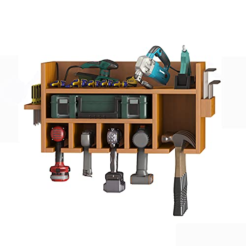 Erlyeen Power tool organizer Wall Mount Wooden Rack Multifunction Tools Storage Cabinets For Charging Station Garage Warehouse