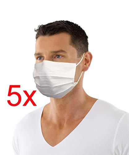 ALBERT KREUZ 5er Pack Wiederverwendbare Mund-Nasen-Maske antibakteriell wasserabweisend zweilagig mit Nasenbügel und weichen Ohrenschlaufen