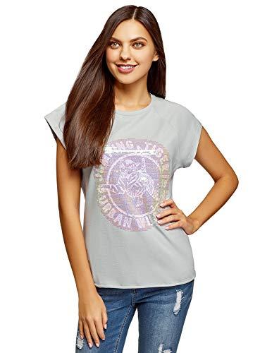 oodji Ultra Damen Baumwoll-T-Shirt mit Pailletten-Verzierung, Grün, DE 38 / EU 40 / M