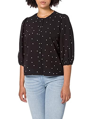 ONLY Carmakoma CARLUXMILA 3/4 Puff Shirt Blusas, Negro/AOP: Puntos Blancos, 48 para Mujer