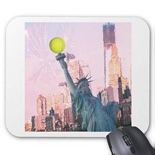 Mauspad, rutschfest, rechteckig, für Computer/Laptop, 20 x 24 cm, Statue der Freiheit und Tennisball