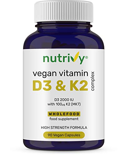 Vegan Vitamin D3 K2 Capsules - Vitamin D3 2000 IU - High Strength Vitamin D with 100mcg Vitamin K2 MK7 & MCT Oil - Highly Absorbed - Easy to Swallow - One a Day - Cholecalciferol - 90 Vegan Capsules