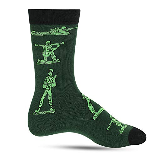 Crazy Socks For Men: Mens Funny Dress Socks: Novelty Crazy Cool & Funky Fathers Day Colorful Sock: Nerd Geek & Science (Army Guy)