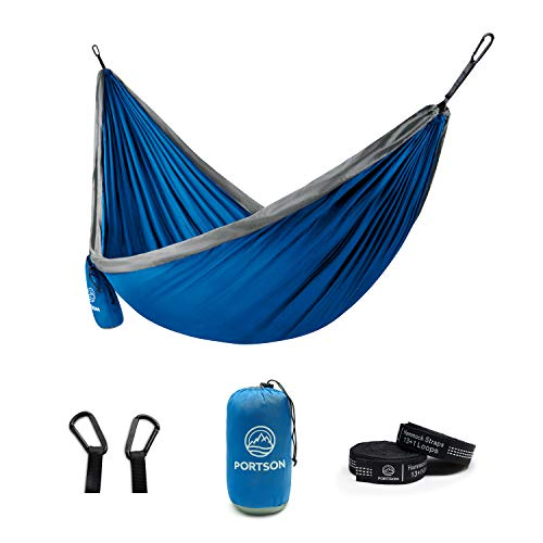 Portson Double Hammock with Tree Friendly Straps Camping Travel Hiking Backpacking USA Brand Blue amp Gray