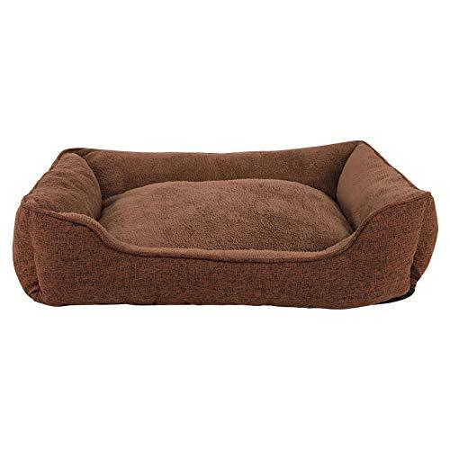 dibea Hundebett meliert Hundekissen Hundekörbchen Bezug abnehmbar 90x75 cm Außenmaß Braun