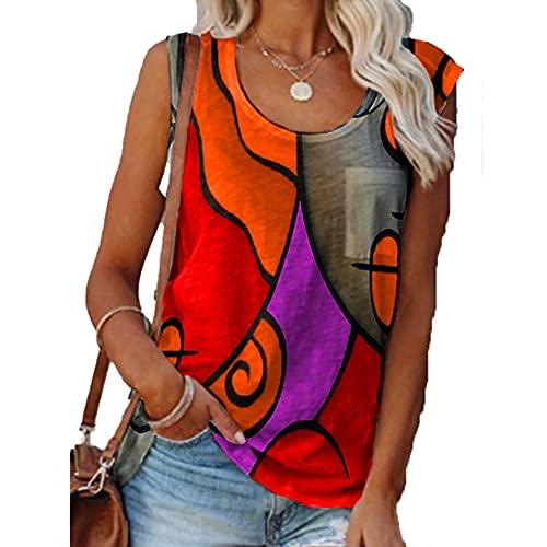 Mayntop - Canotta da donna per l'estate, con stampa a blocchi di colore, motivo geometrico, taglie forti, senza maniche, Arancione., 38