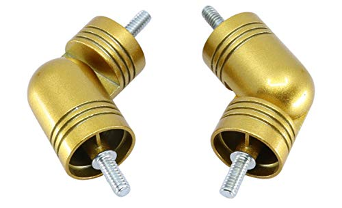 """MERIVILLE Hinged Elbow Connector - Designed for Bay Window Curtain Rods or Corner Drapery Rods up to 1 1/8"""" Diameter, Royal Gold Finish, 2 Pcs"""