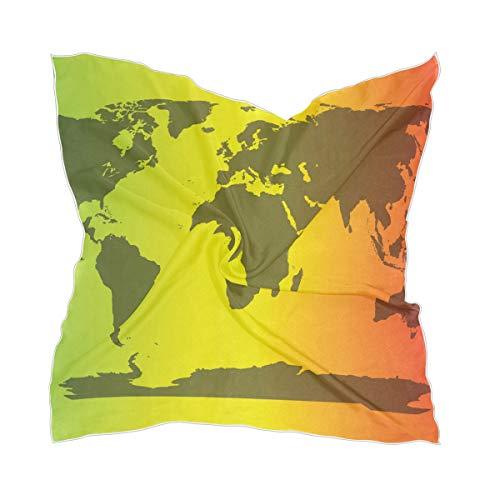 XiangHeFu Wereldkaart kleurrijke dunne schier zakdoek chiffon vrouwen zijden sjaal hoofddeksel