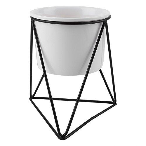 Maceta de cerámica y triángulo en T geométrico de metal para el jardín, soporte para plantas, macetas de cerámica para interior y exterior, Weißer Blumentopf + schwarzer Eisenrahmen