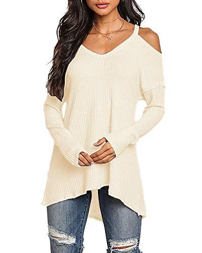 YOINS Pullover Damen Oberteile Elegante Sexy Langarmshirt Blusen Top V-Ausschnitt T-Shirts,S, Aktualisierung-beige