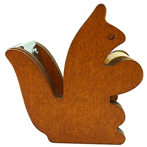 テープカッター 木製 かわいい鳥の形 ブラウン セロテープ台 ミニ マスキングテープカッター(7cm×3.9cm×6cm)