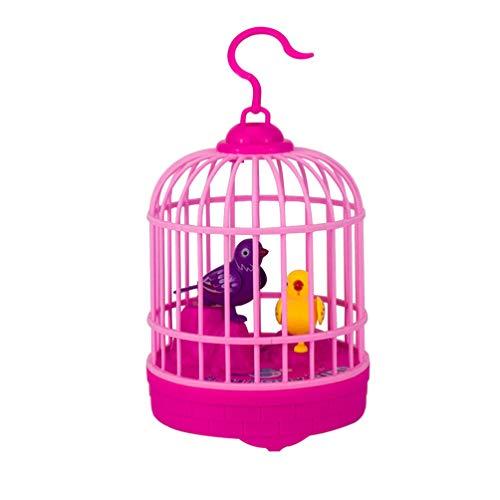 NUOBESTY Pájaro de Juguete Que Canta Y Gorjea en Una Jaula Figurilla de Pájaro Eléctrico Control de Voz Sonidos de Juguete de Loro Movimientos (Sin Batería Rojo)