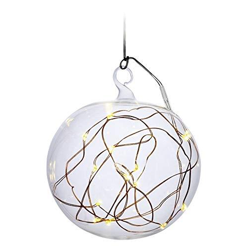 KRINNER LUMIX Light Ball L, kabellose, mundgeblasene Power LED Christbaumkugel mit abgeflachter Unterseite, auch für Tischdekorationen, Klar, Art. 76040