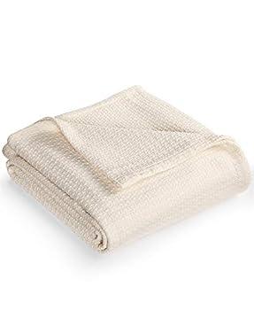 Lauren Ralph Lauren Premium Cream Estate Cotton Full/Queen Blanket Textured Weave  Cream Full/Queen