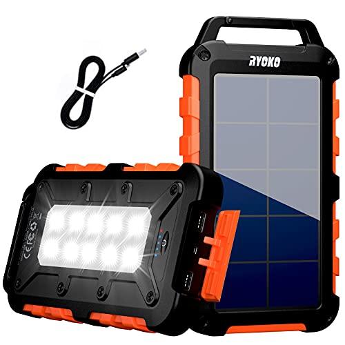 RYOKO Power Bank solare da 20000 mAh, Caricabatterie Solare Portatile ricarica rapida con 2 uscite 2.1 A ad alta capacità con torcia LED, Impermeabile per smartphone, tablet and more