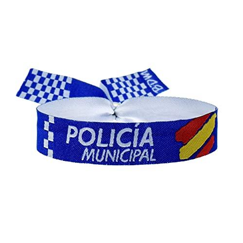 BDM Pulseras policía Local y Municipal. Pulsera de Tela Ajustable para Hombre...