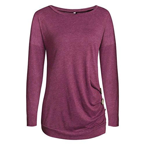 Casual dames basic shirt met lange mouwen blouse losse fit top T-shirt top ronde hals slim tuniek pullover lente herfst winter