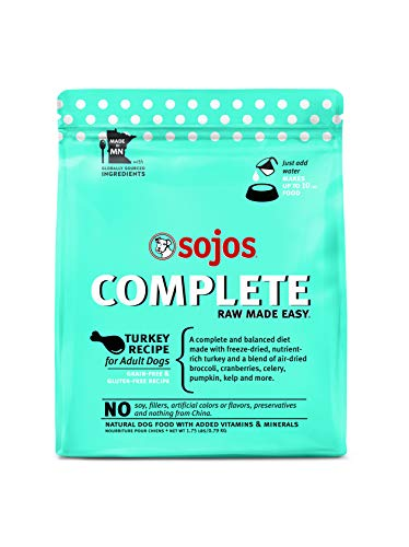 Sojos Complete Turkey Recipe Adult Grain-Free Freeze-Dried Raw Dog Food, 1.75 Pound Bag