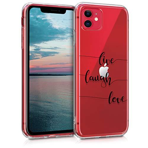 kwmobile Hülle kompatibel mit Apple iPhone 11 - Hülle Handy - Handyhülle - Live Laugh Love Schwarz Transparent