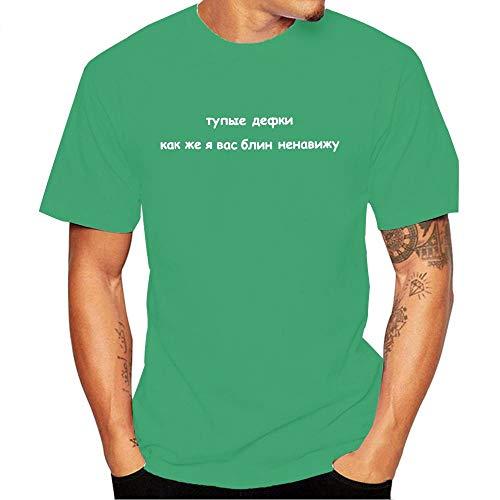 Miwaimao Herren Kurzarm Baumwolle Rundhals T-Shirt Bequem Elastisch Atmungsaktiv Sweat Loose Hip-Hop Junge Sportswear Gr. L, grün